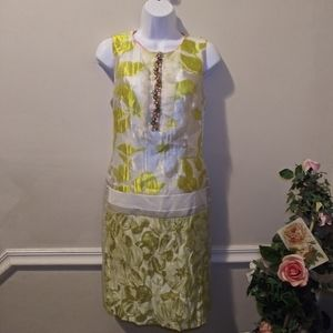 NWOT Marc Cain Retro 60's Lime/White Sheath Dress
